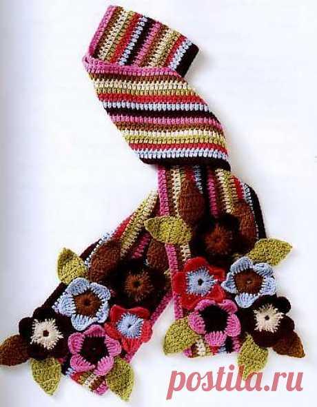 Разноцветный вязаный щарф. Вязание крючкрм - Схемы вязания шапок и шарфов - Схемы для вязания - Уроки вязания крючком - Вязание крючком, мотивы, схемы для вязания крючком