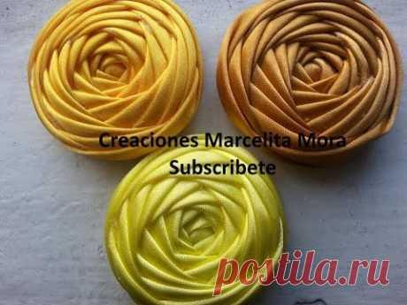 Flor Torbellino (cuatro Lados)-DIY-Flower Ribbon Easy/ MASTER CLASS/Tutorial Rose Kincir