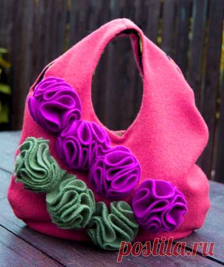 How to sew a bag with flowers from old things the hands | 33 Hand-made articles