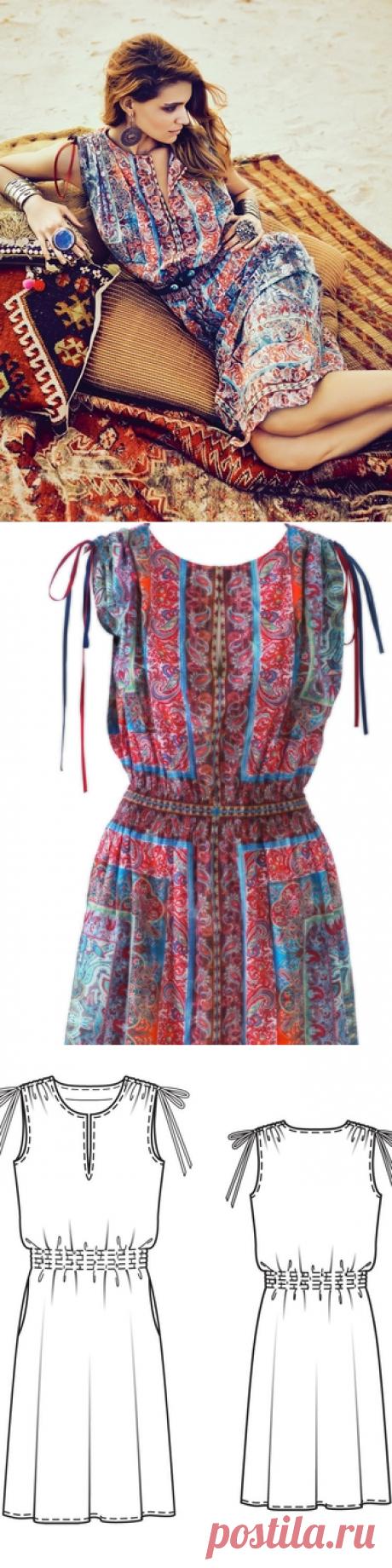 Платье с глубоким разрезом на лифе - выкройка № 127 из журнала 4/2014 Burda – выкройки платьев на Burdastyle.ru