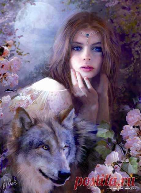 Девушка и волк.    ----   Chronik-Fotos | Facebook