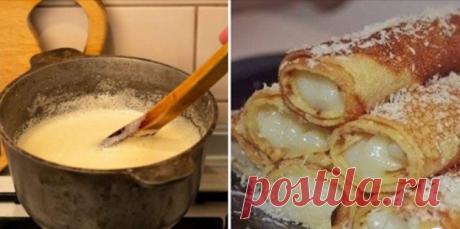 Рецепт обалденно вкусных блинов с заварным кремом «Обалденные»