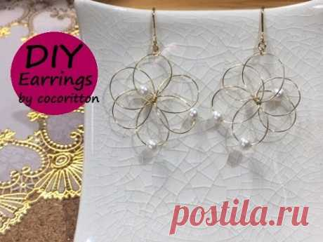 DIY jewelry How to make flower earrings with wire.