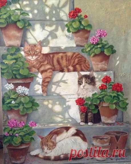 Кошки, герань и кружева турецкой художницы Füsun Ürkün