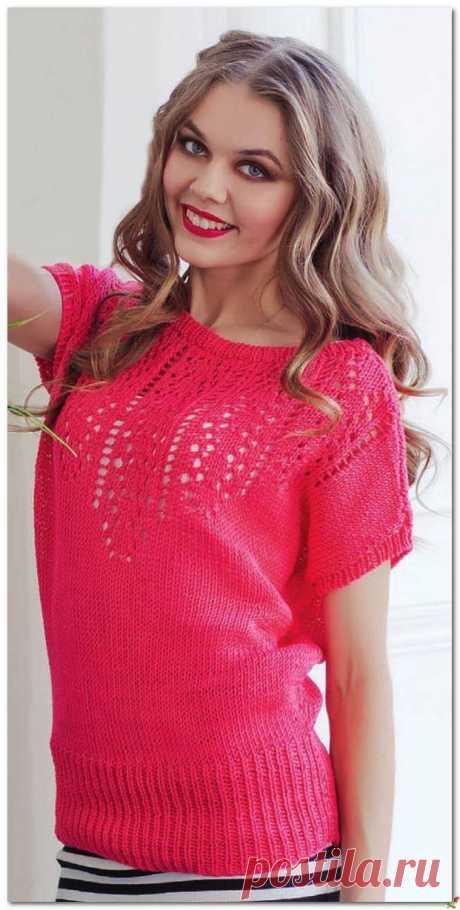 Розовый пуловер с ажуром.