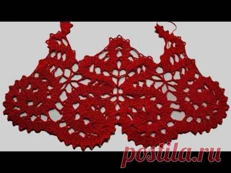 Кокетка крючком. Брюггское кружево. Вязание кокетки. Вязание крючком. Часть 1. (crochet lace. P. 1)