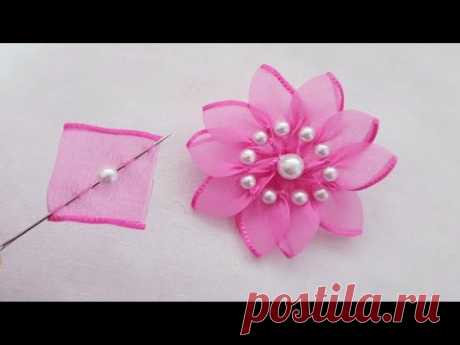 Amazing Ribbon Flower Work - Super Easy Flower Making Ideas - Hand Embroidery Tricks - Sewing Hack