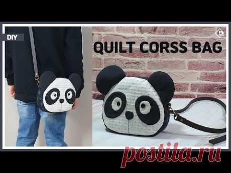 DIY/ QUILT/ PANDA CROSS BAG/ 판다모양의 귀여운 퀼트 크로스백 만들기/ MAKE A BAG/ sewing/ turorial [Tendersmile]