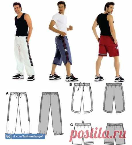 Выкройка мужских спортивных штанов 44-60 евро источник на фото