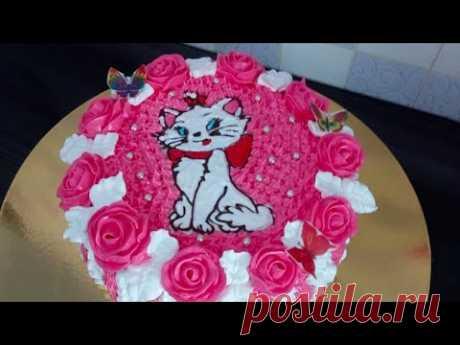 """Кремовый торт кошечка """"Мари"""" своими руками. розы из крема/ Cream cake cat """"Marie"""" for girls at home"""