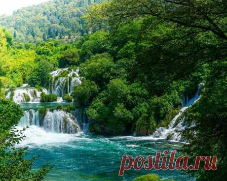 Картинки водопад, поток, водопады крка, хорватия - обои 1280x1024, картинка №355099