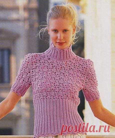 Сиреневый пуловер – Мир вязания и рукоделия