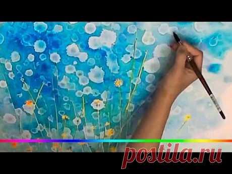 Акварель - цветочная эйфория ( техника маскирования )