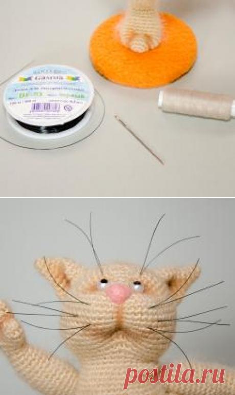 Надежное крепление усов у вязаных игрушек - Мордочка-глаза-волосы - Форум почитателей амигуруми (вязаной игрушки)