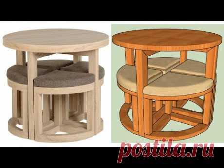 Como hacer una Mesa redonda con 4 bancas - YouTube