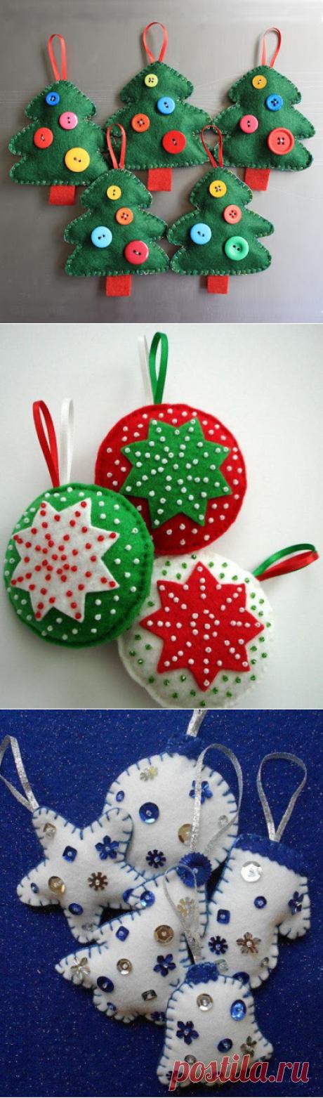 Interesting ideas for decor: МК. Новогодние игрушки из фетра. Christmas toy made of felt .