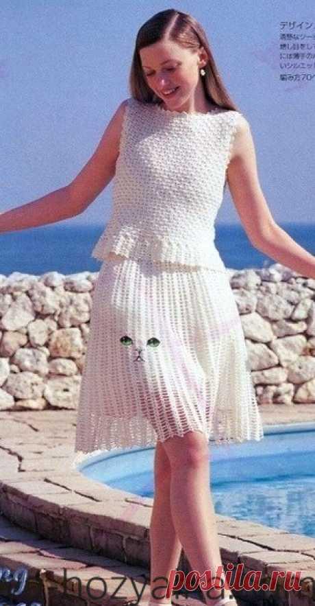 Связать белый костюм крючком: юбка и жакет. Стильные вязаные вещи крючком