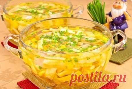С ума сойти до чего дошла кулинария: Куриный суп с яичными блинчиками