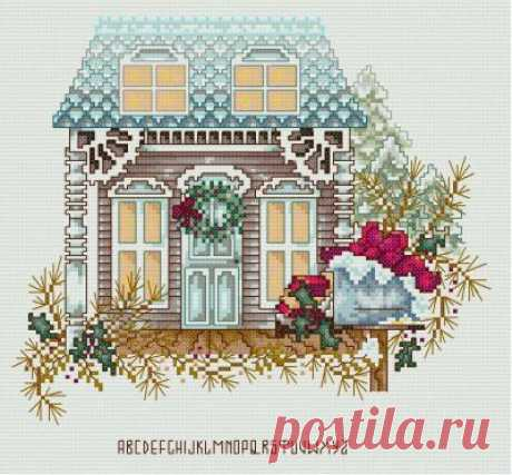 Домик в Рождество- схема для вышивки крестом