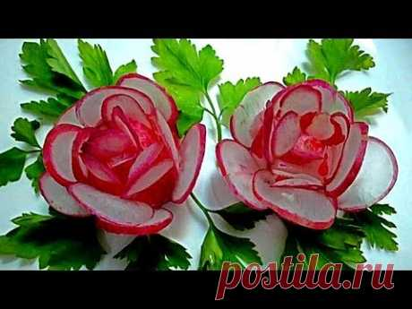 Flowers from a garden radish. Jewelry from vegetables. Decoration Of Vegetables - YouTube