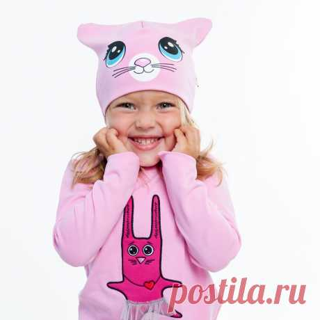 Шапочка с кошачими ушками. Розовая
