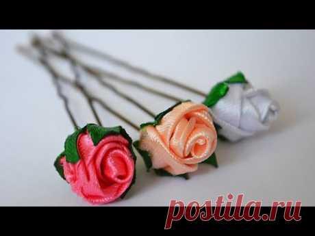 Шпильки для волос с розами. МК. 簪 Kanzashi DIY