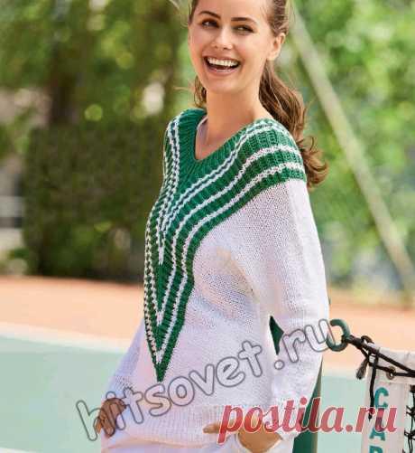 Эффектный женский пуловер спицами - Хитсовет