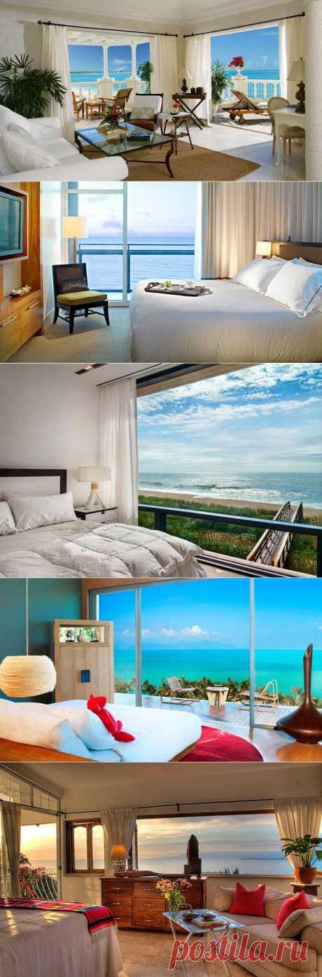 Спальни с видом на море | Фотографии красивых интерьеров