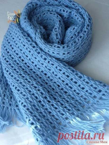 """СТИЛЬНЫЙ МУЖСКОЙ ШАРФ """"МЕГАПОЛИС"""" Вязаный своими ручками шарф - это отличный подарок для мужчины, который согреет своего обладателя. Ну, а если поэкспериментировать с ниточками и связать шарф из хлопка, то такой аксессуар может пригодиться не только зимой, ведь это стиль и шарм для мужчины.  Пряжа- Alize CASHMIRA Fine (100% шерсть,100 г/450 м) Крючок- 2 мм / 2,75 мм (Clover) Общий расход- около 300 г Размер- 30 х 150 см  Набираем необходимое кол-во в. п. для ширины бу..."""