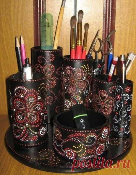 Чудо-органайзер. Точечная роспись. - Эфария Красивый органайзер, создан из подручных материалов с применением точечной росписи.