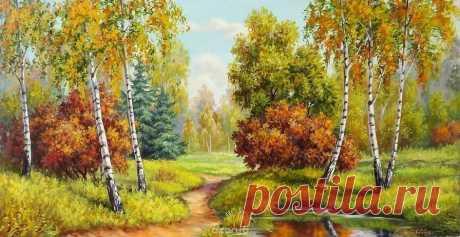 Оригинал схемы вышивки «pejzaż jesienny» - Вышивка крестом