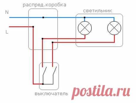 Как сделать монтаж двухклавишного выключателя на две группы ламп