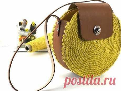 Вязаная сумочка с кожей (DIY) Модная одежда и дизайн интерьера своими руками