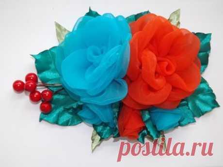 Объемные цветы. Цветы из ткани и ленты