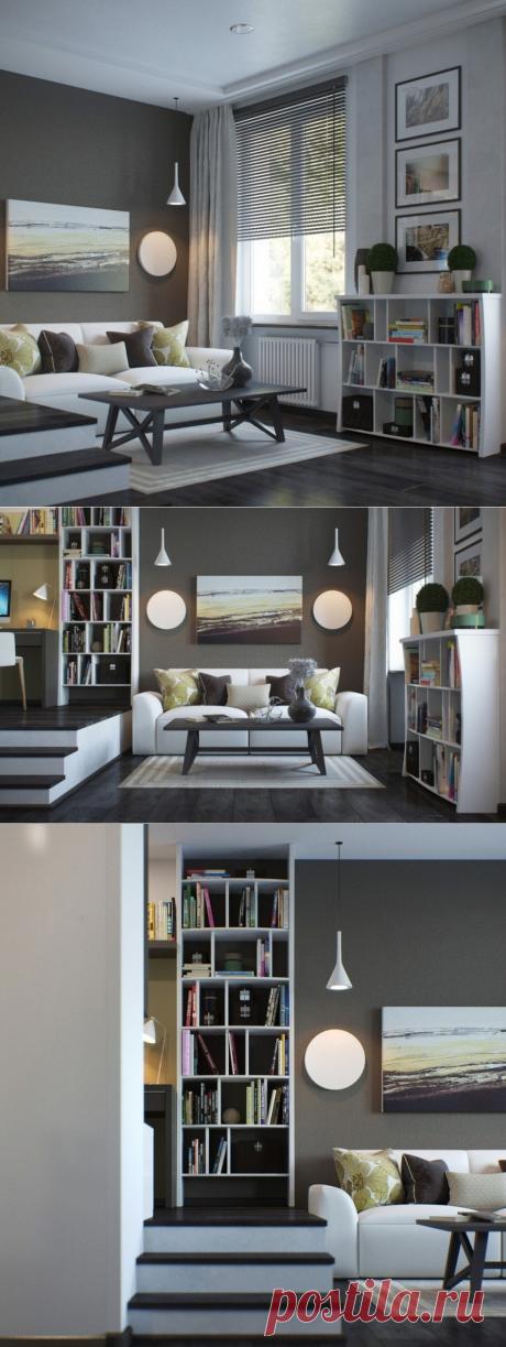 Современный дизайн однокомнатной квартиры 37 кв. м. - Дизайн интерьеров   Идеи вашего дома   Lodgers