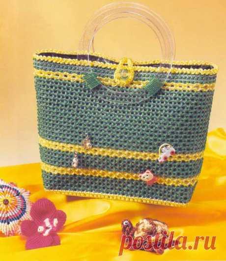 Вязание и вышивка сумок по пластиковой канве