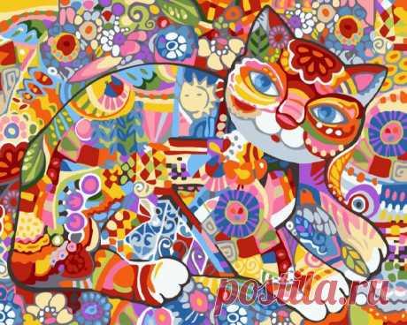 Купить Картины по номерам Абстрактная кошка Rainbow Art (номерам без коробки Абстрактная кошка 40*50 см Rainbow Art рисуй.укр