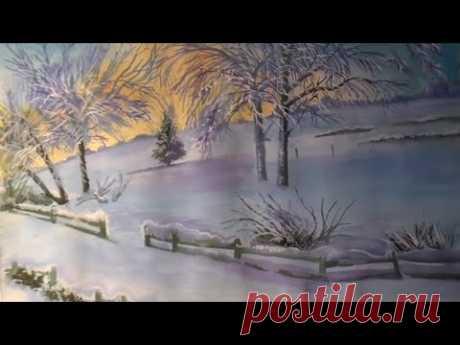 Как нарисовать зимний пейзаж гуашью - YouTube