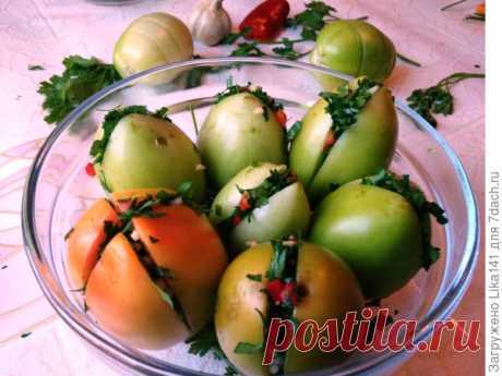 Зеленые помидоры с чесноком по-грузински на зиму. Рецепт + видео