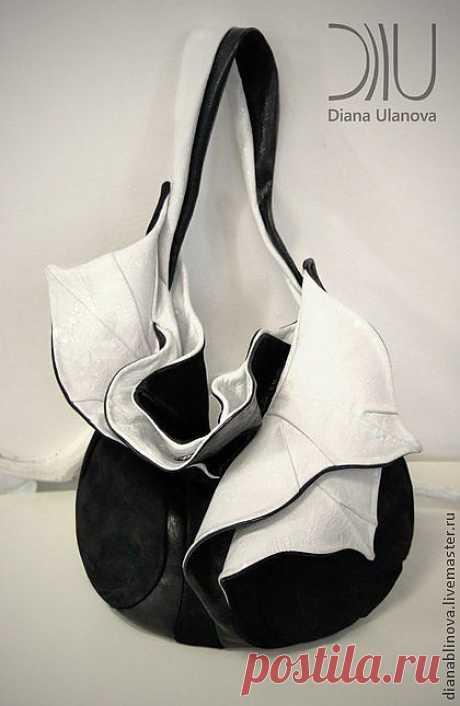 Орхидея - чёрно-белый,однотонный,черная сумка,авторская сумка,необычная сумка