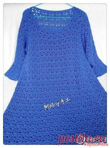 . Blue sky. A dress with sleeves 3\\4. - All in openwork... (knitting by a hook) - the Country of Mothers
