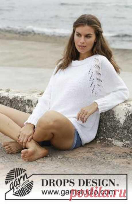 Пуловер Монтесито Простой пуловер с удлиненной линией реглана рукава, связанный на спицах 5.5 мм из хлопковой пряжи белого цвета для женщин. Вязание...