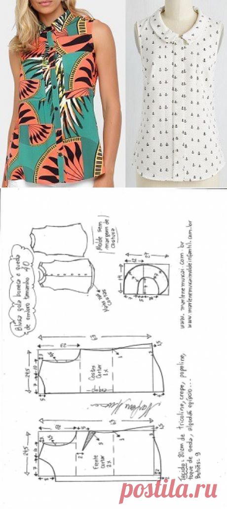 Выкройки блузки без рукава (Шитье и крой) — Журнал Вдохновение Рукодельницы