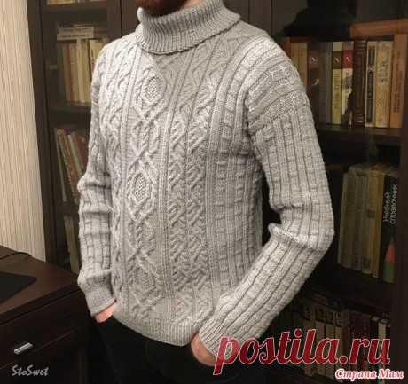 Мужской свитер спицами с косами и аранами Уралец, Вязание для мужчин