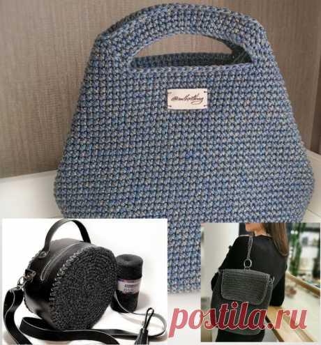 Вяжем детали одежды и аксессуары - Вязаные сумки крючком и спицами - Сумка из полиэфирного шнура или пряжи маккарони tie dye