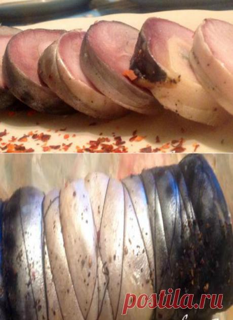Рулеты из соленой скумбрии