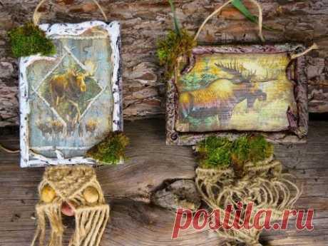 ПОДВЕСКИ мастер класс декор дерева природными материалами DIY natural materials-handmade decoupage