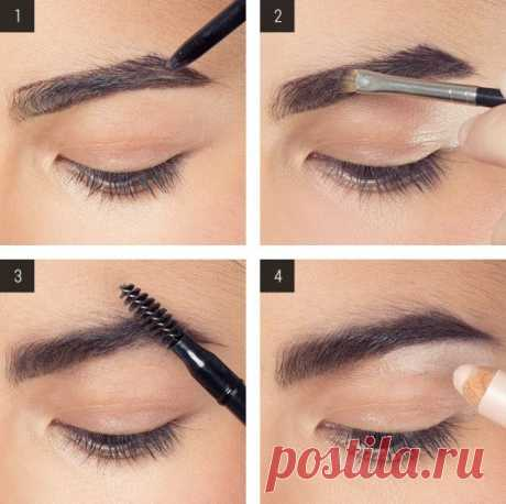 How it is correct to make up eyebrows with shadows? — Step-by-step photo, instructions