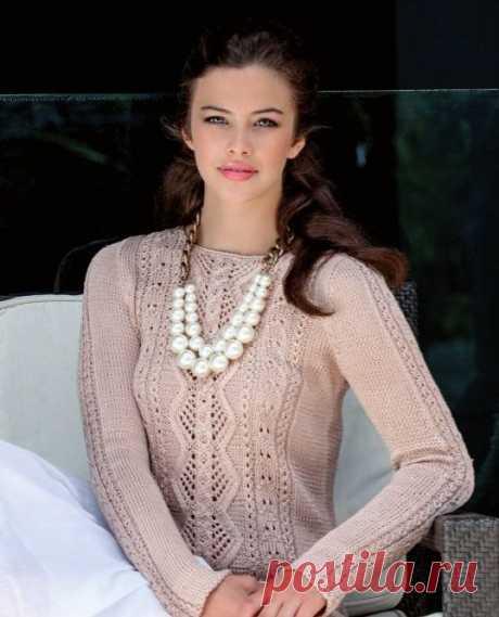 Пуловер с симпатичным узором