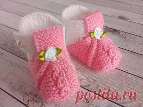 Детские пинетки вязаные спицами, без шва, несложные /knitting baby booties